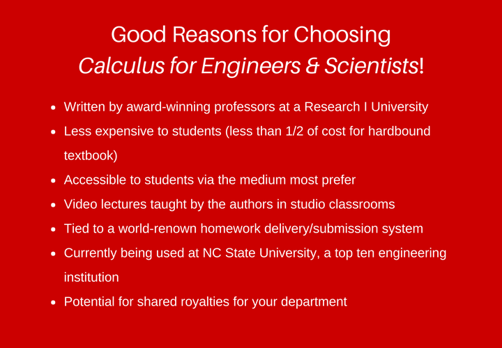 eCalculus for Engineers & Scientists | Why this textbook?Why